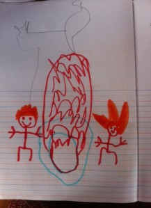 Roman's drawing of the Fire Ceremony